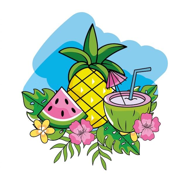 Frutas tropicais com flores e folhas de plantas
