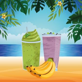 Frutas tropicais e smoothie drink