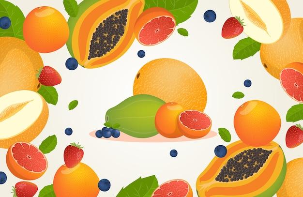 Frutas tropicais frescas e frutas vermelhas