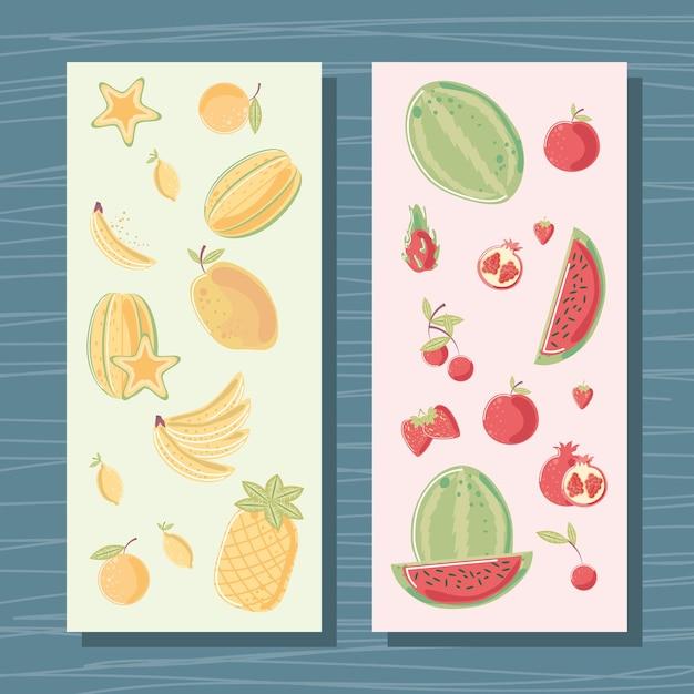 Frutas tropicais frescas e ilustração de banner de nutrição de cor amarela e vermelha