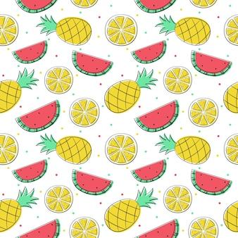 Frutas tropicais isoladas de padrão sem emenda