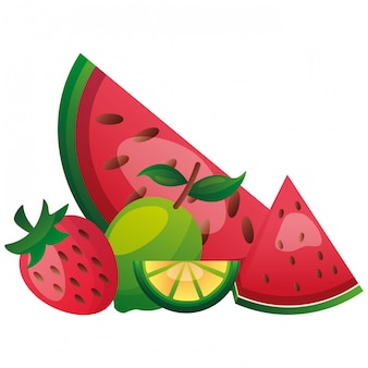 Frutas tropicais, melancia, limão, coco
