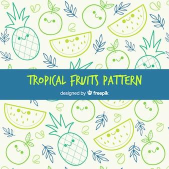 Frutas tropicais, padrão, fundo