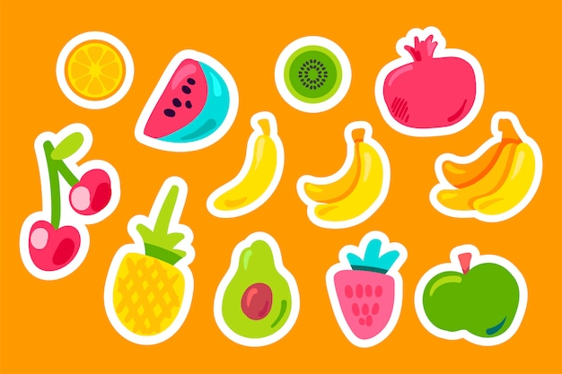 Frutas tropicais plana conjunto