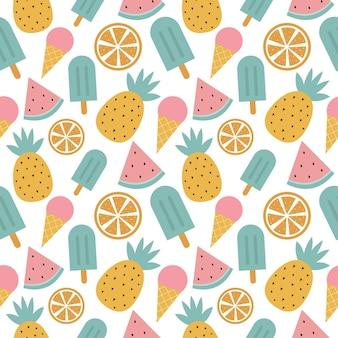 Frutas tropicais sem costura padrão e sorvete isolado no fundo branco