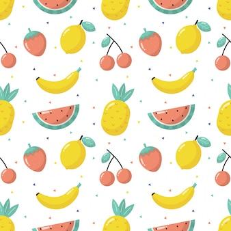 Frutas tropicais sem costura padrão isolada no fundo branco.
