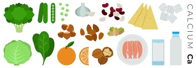Frutas, vegetais e produtos animais isolados no branco