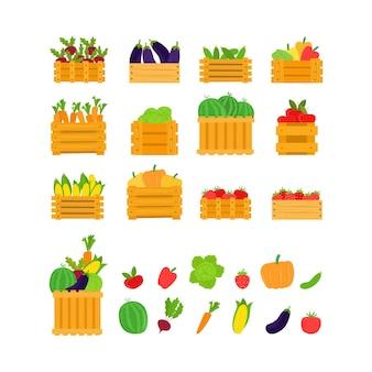 Frutas, vegetais em caixa, ilustração vetorial. conjunto de alimentos saudáveis, coleção de produtos vegetais frescos orgânicos. colheita lisa de cenouras, beterrabas, berinjela, pepino e tomate maduro em cesto de madeira.