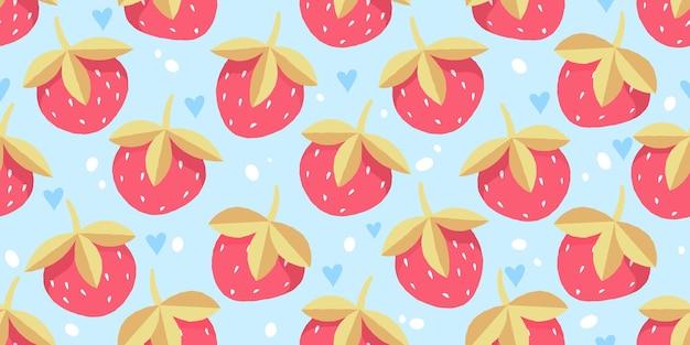Frutas vermelhas suculentas maduras em um fundo azul. morango. padrão infantil de morangos