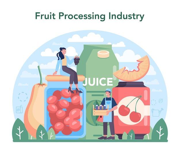 Fruticultura e indústria de processamento. ilustração em vetor plana isolada