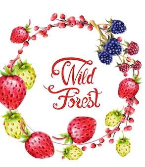 Frutos da floresta selvagem na grinalda