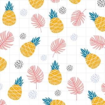 Frutos de abacaxi com folhas de monstera padrão de impressão