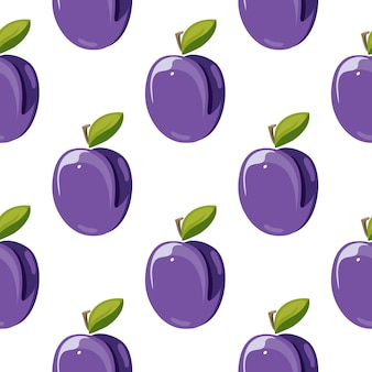 Frutos de ameixa azul com folhas verdes