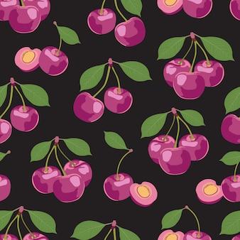 Frutos de cereja rosa padrão sem emenda