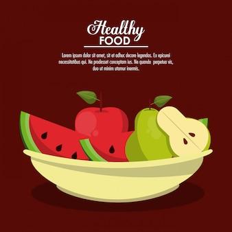 Frutos de comida saudável com informação