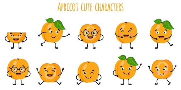 Frutos de damasco bonitos engraçados alegres personagens com diferentes poses e emoções. coleção de alimentos de desintoxicação antioxidante de vitamina natural. ilustração isolada dos desenhos animados.