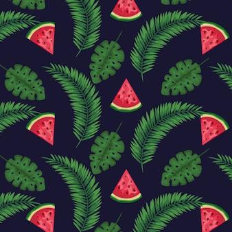 Frutos de melancia com folhas exóticas