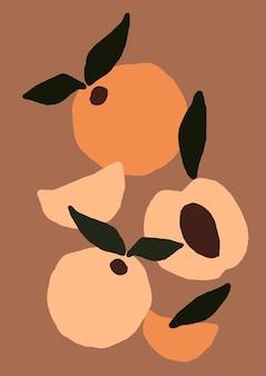 Frutos de pêssego modernos abstratos
