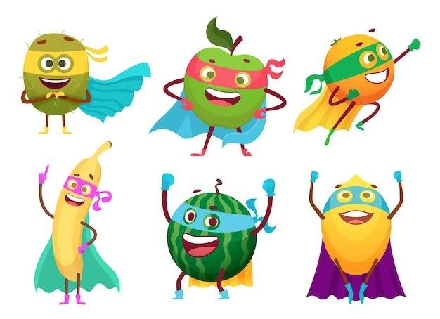 Frutos de super-heróis. heróis de mascote de alimentos saudáveis de vegetais trajes personagens de frutos de maçã laranja jardim. super-herói de frutas, herói com superpoder, ilustração de banana ou maçã