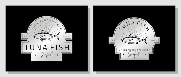 Frutos do mar, atum, salmão fresco, vintage, luxo, logotipo, design