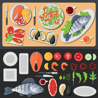 Frutos do mar. comida saudável. peixe preparado. legumes e peixe. menu de frutos do mar. peixe e camarão. cozinha de frutos do mar. ilustração vetorial estilo plano