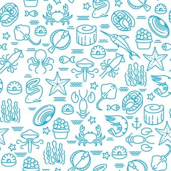 Frutos do mar de contorno, padrão de vetor sem emenda de sushi