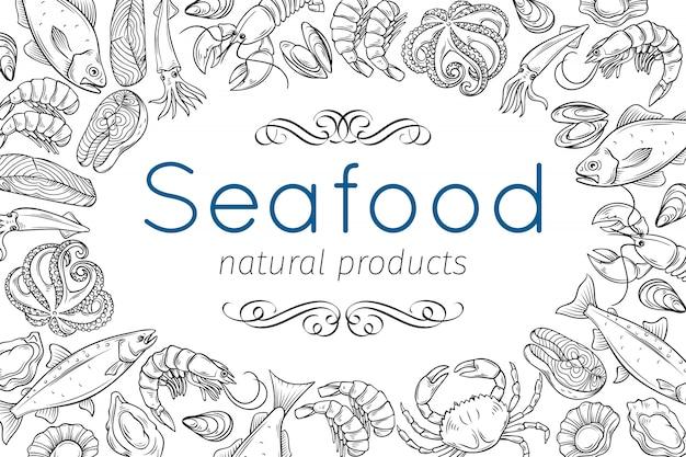 Frutos do mar desenhados à mão