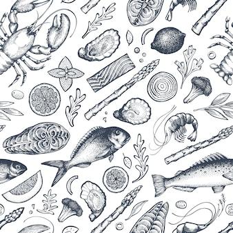 Frutos do mar e peixe padrão sem emenda. mão desenhada ilustração vetorial.