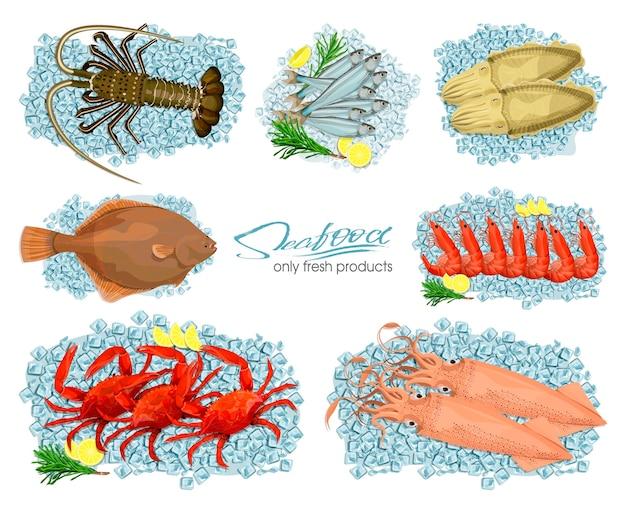 Frutos do mar em estilo cartoon conjunto de ícones de ilustrações vetoriais