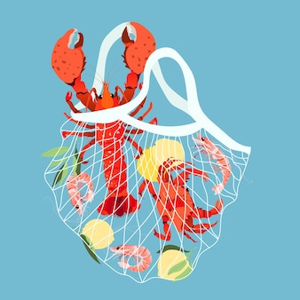 Frutos do mar em um saco de malha.