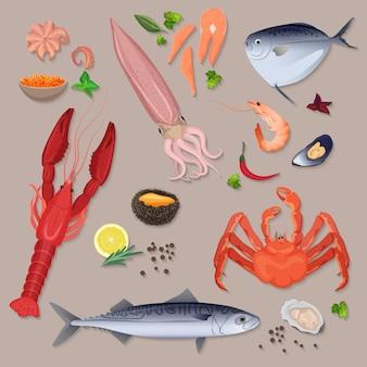 Frutos do mar frescos do vetor com grupo da coleção dos ícones das especiarias.