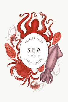 Frutos do mar. frutos do mar de mão desenhada. comida de estilo gravado. fundo de animais do mar retrô