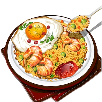 Frutos do mar nasi goreng ou arroz frito com frutos do mar na vista superior do fundo branco