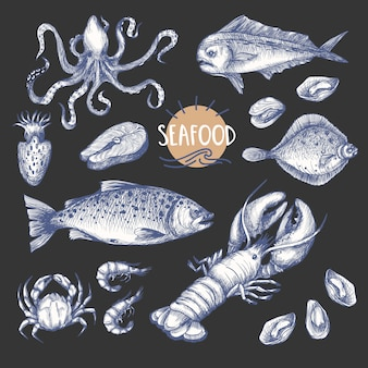 Frutos do mar no estilo vintage gráfico isolado.