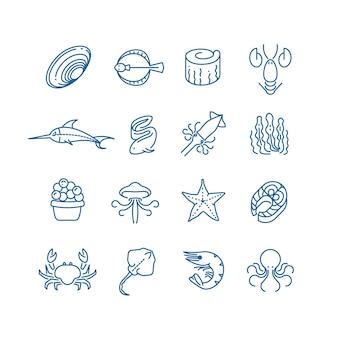 Frutos do mar, peixe fino ícones de vetor linha