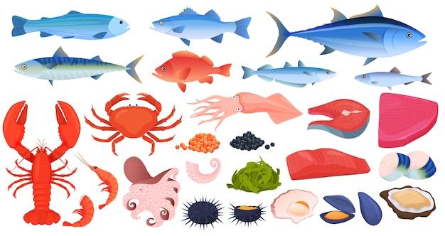 Frutos do mar, peixes, caranguejos, camarões, lagostas, lulas, polvos, pedaços de peixe, mexilhões, ostras, caviar.