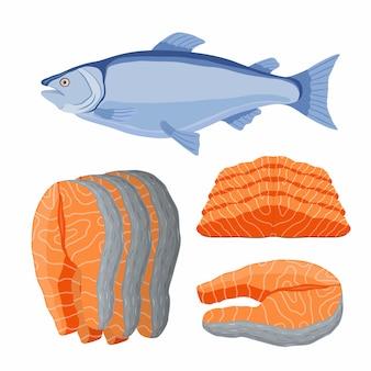 Frutos do mar salmão. filé de peixe fresco, laranja