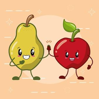 Frutos kawaii de pêra e maçã