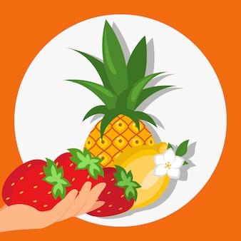 Frutos maduros e frutas cor ilustração vetorial