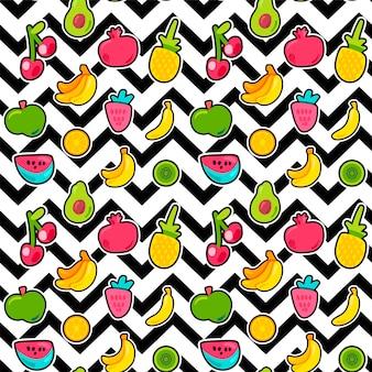 Frutos pintados de frutas de verão misturam padrão sem emenda