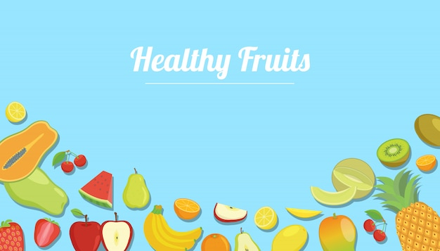 Frutos saudáveis com vários tipos de frutas para o fundo