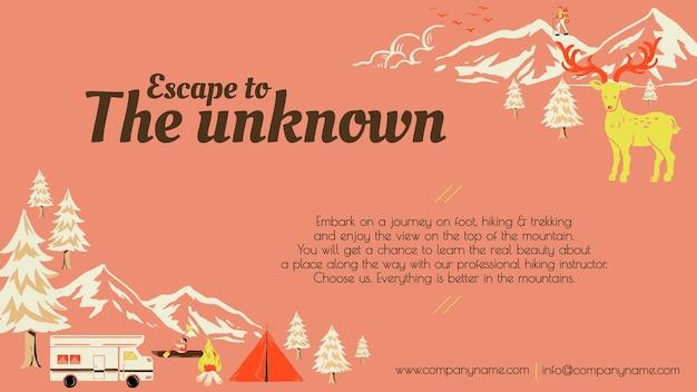 Fuga para caminhada, modelo de viagem, feriado, acampamento, banner