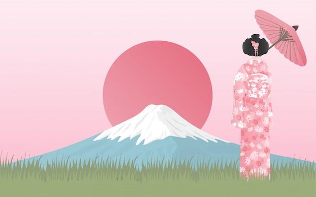 Fuji montanha com mulher japonesa no vestido de quimono