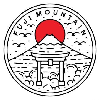 Fuji montanha monoline vintage design ao ar livre