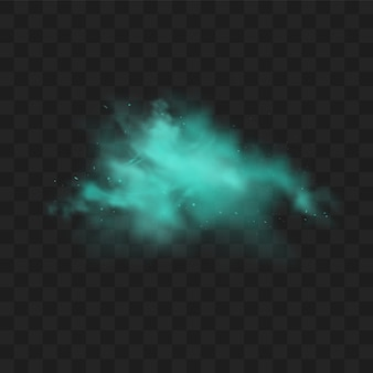 Fumaça azul isolada. nuvem de névoa mágica azul realista, gás tóxico químico, ondas de vapor.