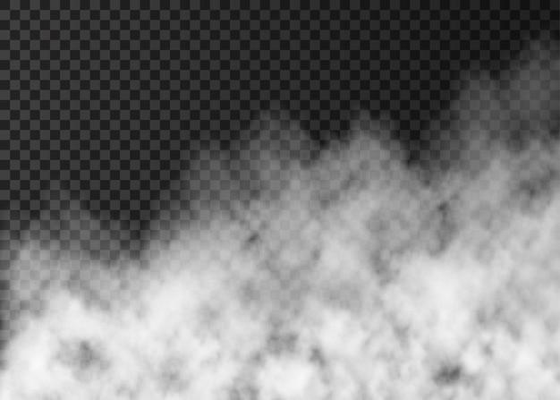 Fumaça branca isolada em fundo transparente. efeito especial de vapor. névoa de fogo de vetor realista ou textura de névoa.