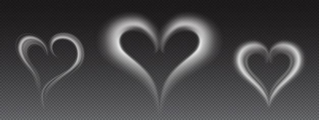 Fumaça branca realista de vetor em forma de coração