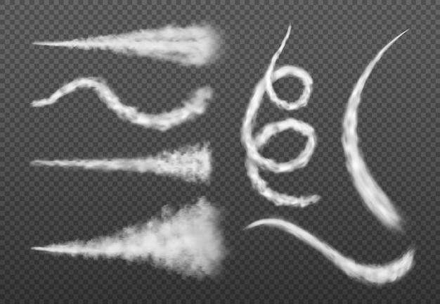 Fumaça de avião jato ou transporte de ar isolado vapor redemoinho ilustração vetorial condensação de foguete