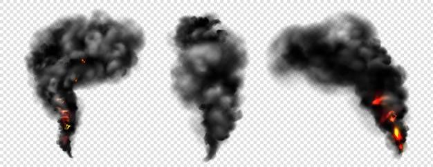 Fumaça negra com fogo, nuvens escuras de névoa ou trilhas de vapor