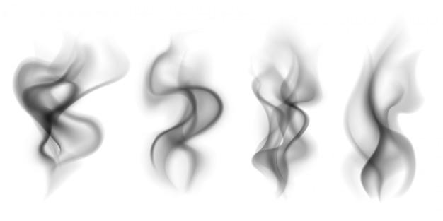 Fumaça preta. conjunto de nuvens de fumo transparente